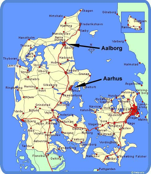 Aarhus Denmark  city pictures gallery : ... this map you can see where Aarhus and Aalborg is located in Denmark